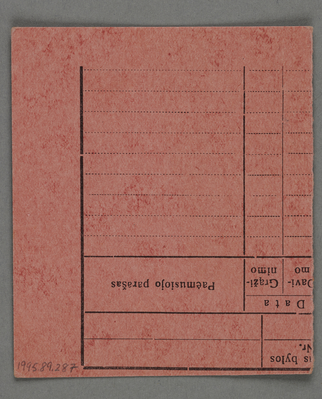 1995.89.287 back Work assignment slip from the Kovno ghetto