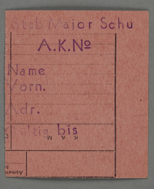 1995.89.287 front Work assignment slip from the Kovno ghetto