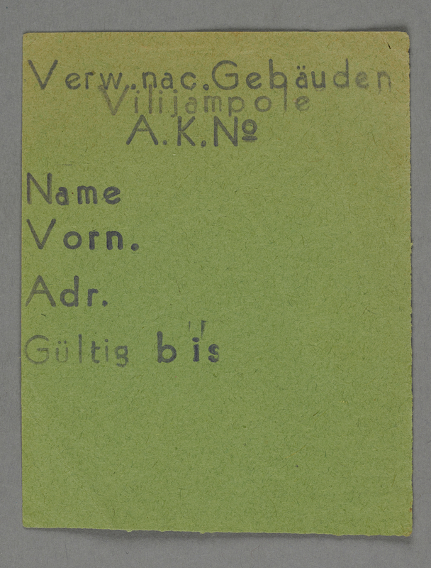 1995.89.289 front Work assignment slip from the Kovno ghetto