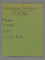 1995.89.289 front Work assignment slip from the Kovno ghetto  Click to enlarge