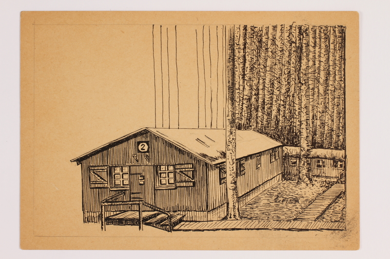 2012.483.15 front Postcard with ink drawing