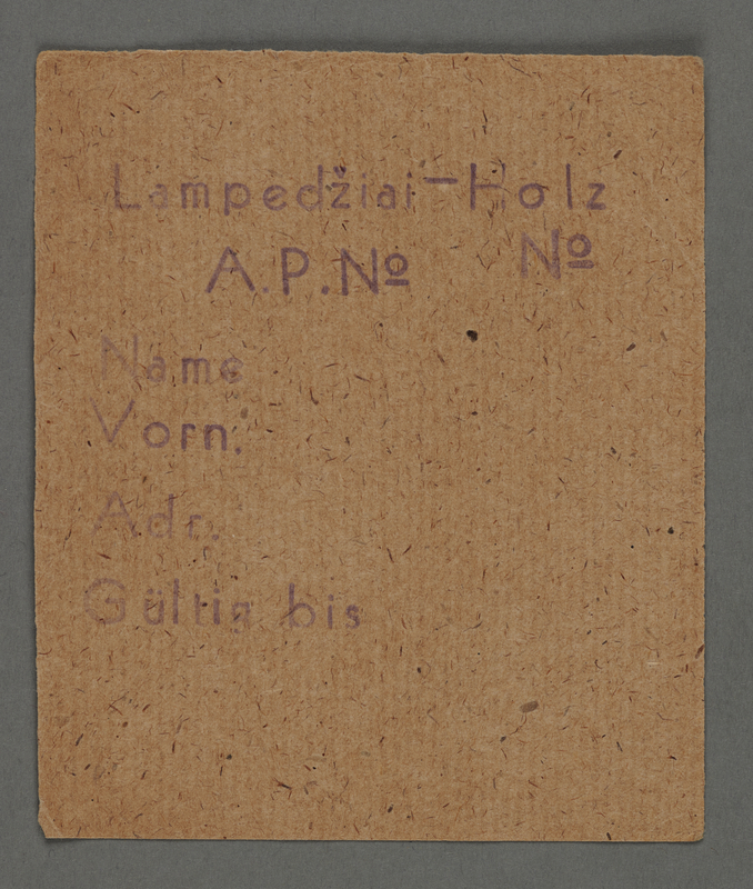 1995.89.290 front Work assignment slip from the Kovno ghetto