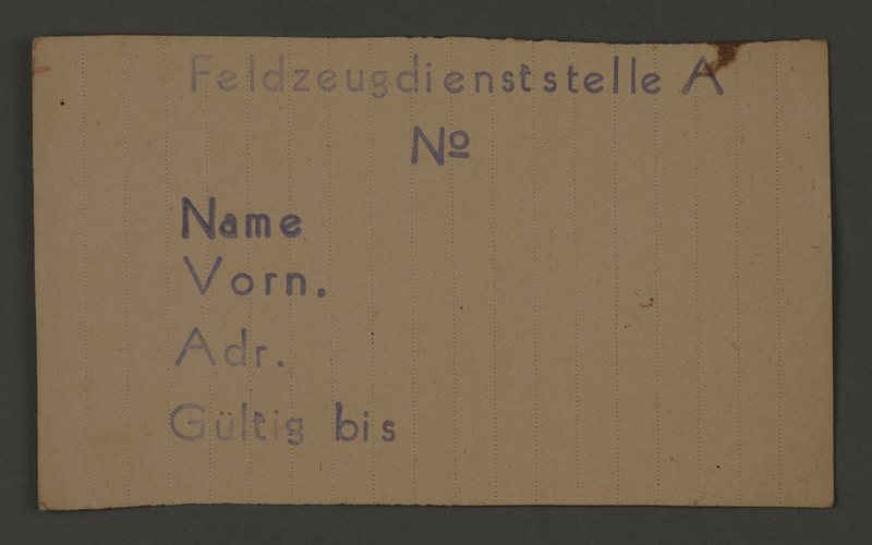 1995.89.291 front Work assignment slip from the Kovno ghetto