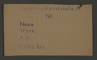 1995.89.291 front Work assignment slip from the Kovno ghetto  Click to enlarge