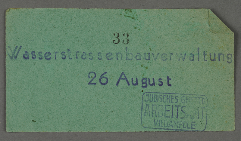 1995.89.293 front Work assignment slip from the Kovno ghetto