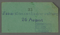 1995.89.293 front Work assignment slip from the Kovno ghetto  Click to enlarge