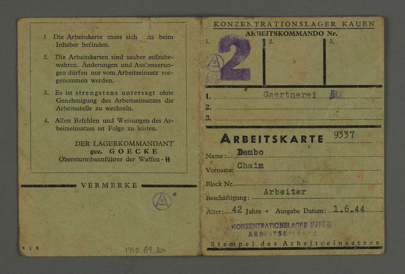 1995.89.301 front Labor card from the Kovno ghetto