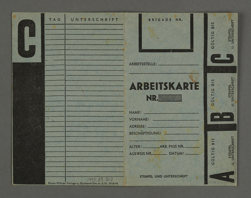 1995.89.302 front Labor card from the Kovno ghetto