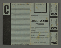 1995.89.302 front Labor card from the Kovno ghetto  Click to enlarge