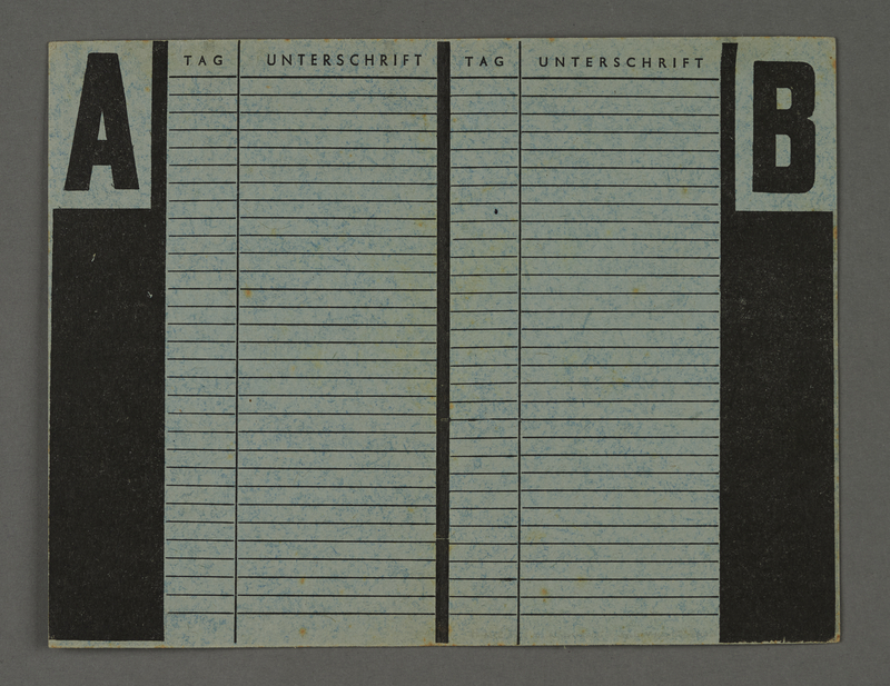 1995.89.302 back Labor card from the Kovno ghetto