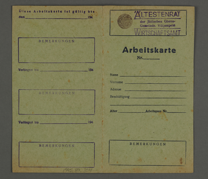 1995.89.304 front Work permit from the Kovno ghetto