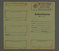 1995.89.304 front Work permit from the Kovno ghetto  Click to enlarge