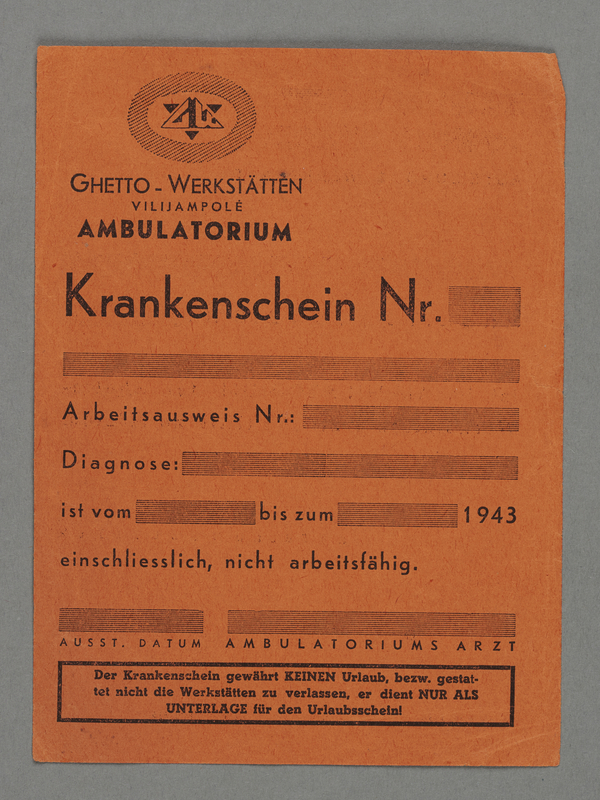 1995.89.305 front Medical certificate from the Kovno ghetto workshops