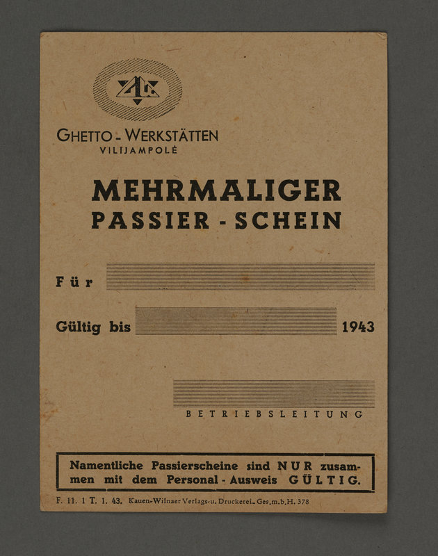 1995.89.308 front Pass for use at the Kovno ghetto workshops