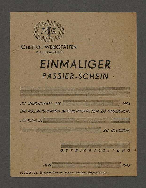 1995.89.309 front Pass for use at the Kovno ghetto workshops