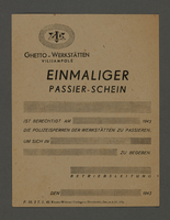 1995.89.309 front Pass for use at the Kovno ghetto workshops  Click to enlarge