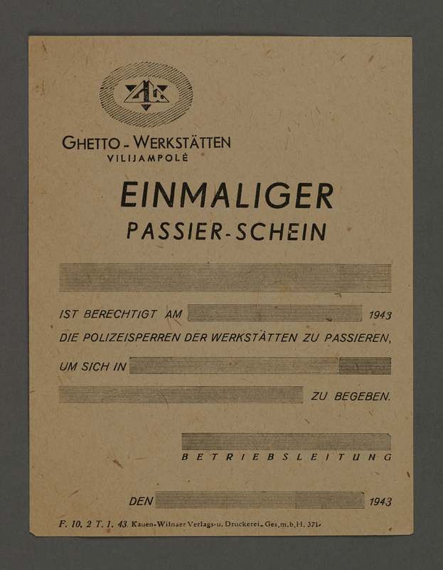 1995.89.312 front Pass for use at the Kovno ghetto workshops