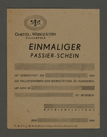 1995.89.312 front Pass for use at the Kovno ghetto workshops  Click to enlarge