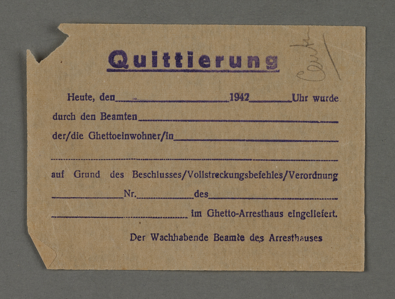 1995.89.313 front Receipt for arrest from the Kovno ghetto