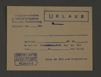 1995.89.314 front Leave pass from the Jewish Ghetto Labor Bureau of the Kovno ghetto  Click to enlarge