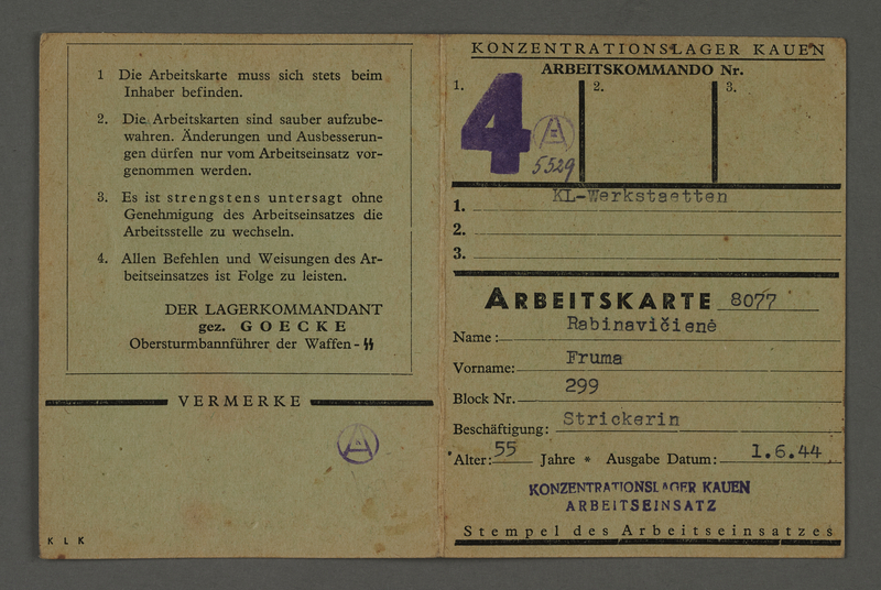1995.89.317 front Labor card from the Kauen concentration camp [Kovno ghetto]