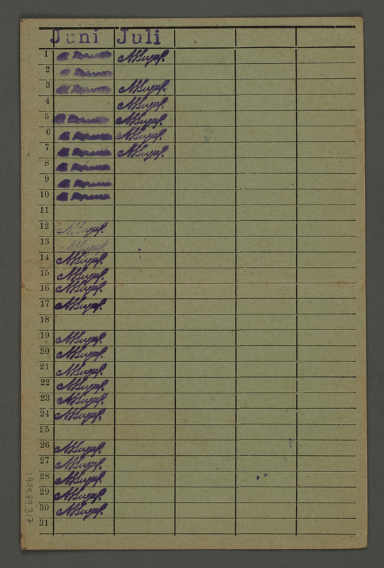 1995.89.317 back Labor card from the Kauen concentration camp [Kovno ghetto]