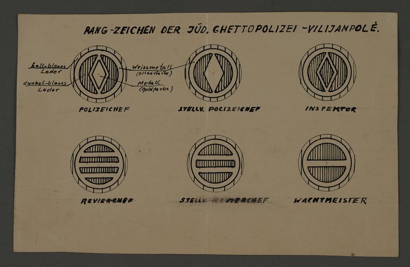 1995.89.319 front Design illustrations for Jewish ghetto police insignia for the Kovno ghetto
