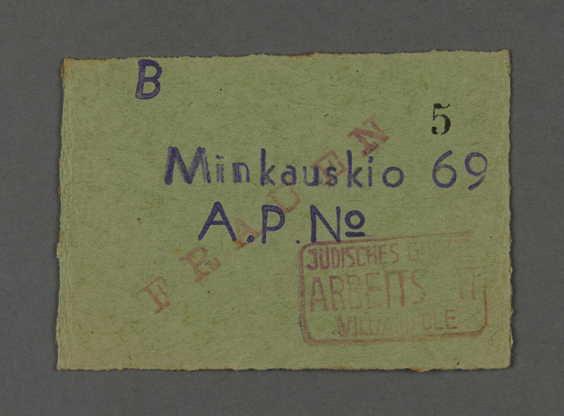 1995.89.331 front Work permit from the Kovno ghetto