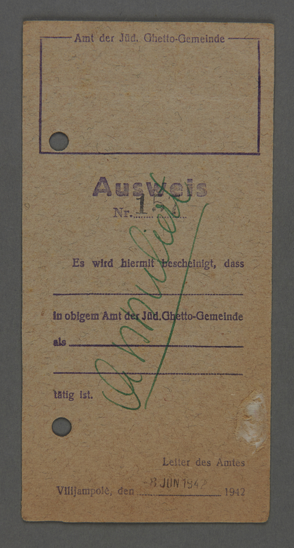 1995.89.332 front Identification card from the Kovno ghetto