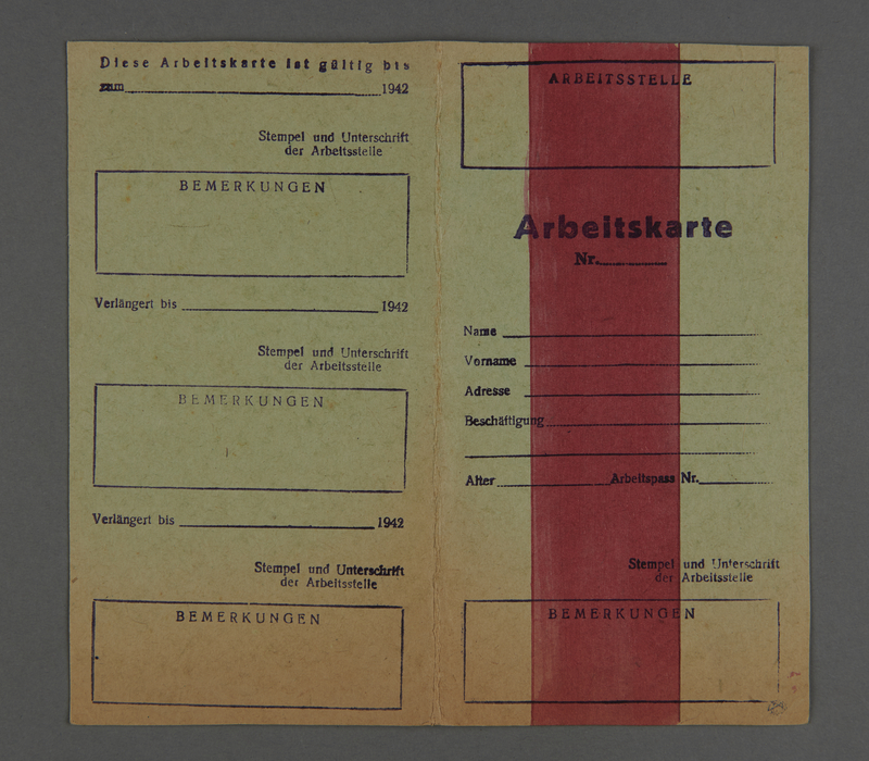 1995.89.334 front Work permit for women from the Kovno ghetto