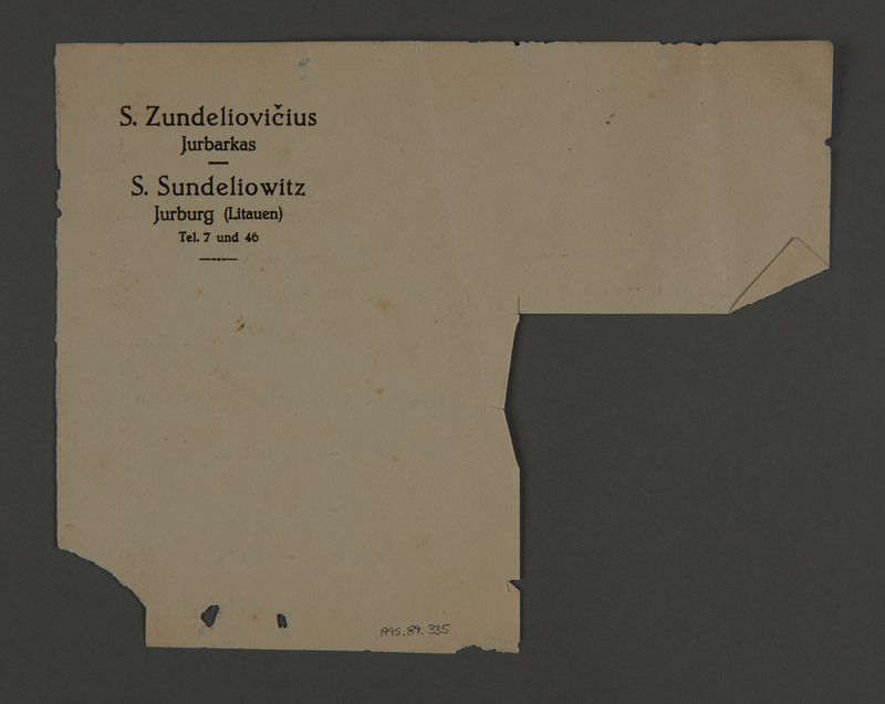 1995.89.335 back Document from the Kovno ghetto