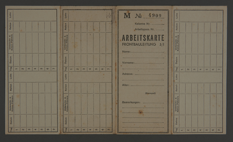1995.89.336 front Time, ration and pay card from the Kovno ghetto