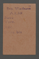 1995.89.338 front Work assignment slip from the Kovno ghetto  Click to enlarge