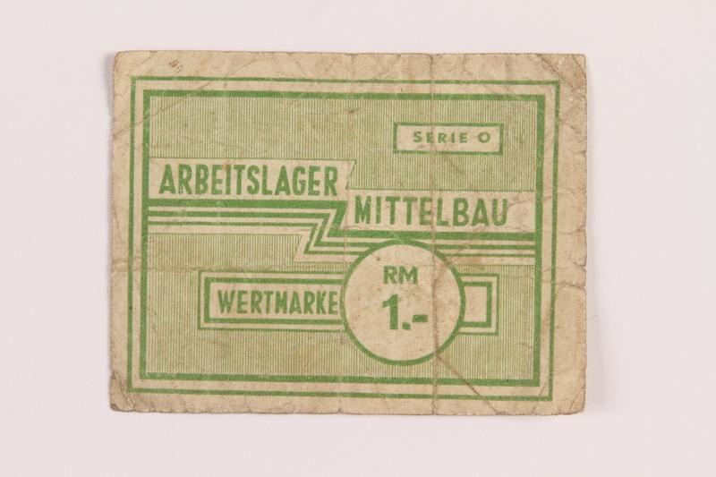 1989.303.28 front Mittelbau forced labor camp scrip, 1 Reichsmark, issued to a Czech Jewish prisoner