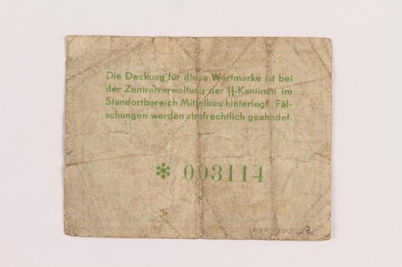 1989.303.28 back Mittelbau forced labor camp scrip, 1 Reichsmark, issued to a Czech Jewish prisoner