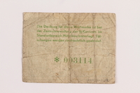 1989.303.28 back Mittelbau forced labor camp scrip, 1 Reichsmark, issued to a Czech Jewish prisoner  Click to enlarge