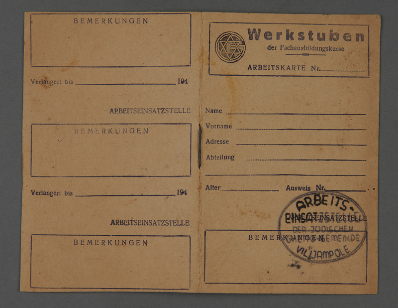 1995.89.339 front Work permit from the Kovno ghetto