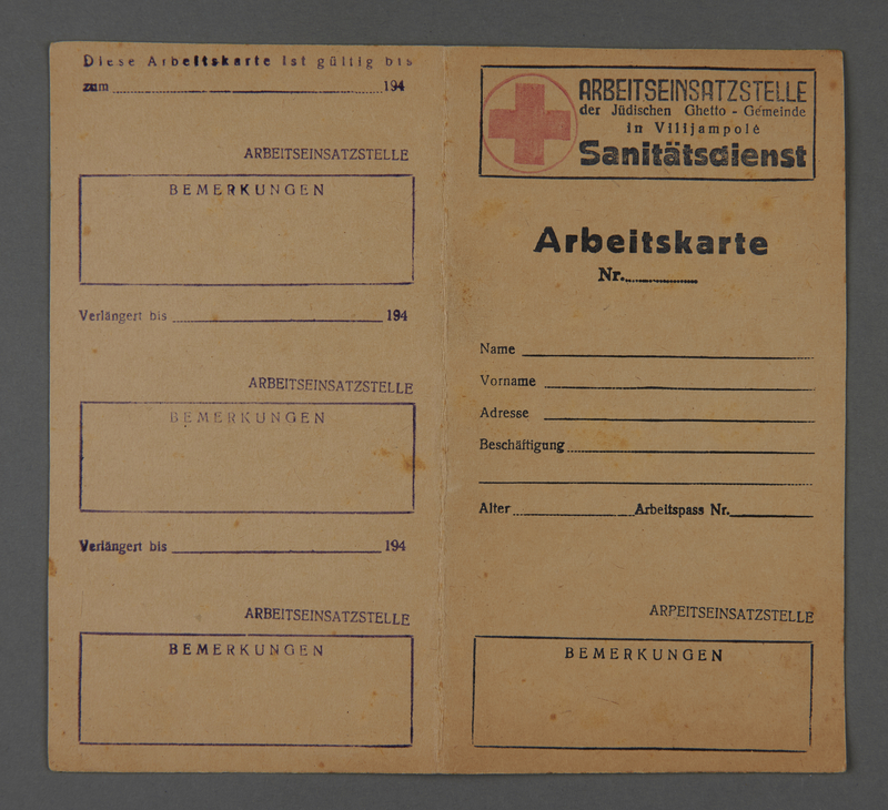 1995.89.340 front Work permit from the Kovno ghetto