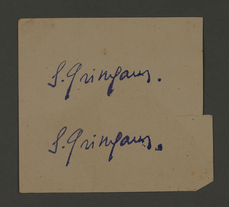 1995.89.342 front Signature ink stamp impression from an administrative department of the Kovno ghetto