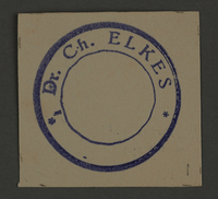 1995.89.347 front Signature stamp of Elchanan Elkes, Chairman of the Altestenrat (Council of Elders) in the Kovno ghetto  Click to enlarge