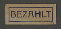 1995.89.351 front Ink stamp impression from an administrative department of the Kovno ghetto  Click to enlarge