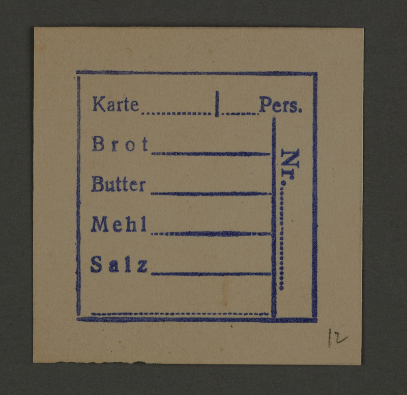 1995.89.352 front Ration coupon or receipt from the Kovno ghetto