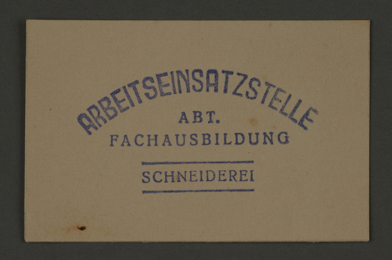 1995.89.358 front Ink stamp impression of the vocational training section of the Kovno ghetto labor insertion office