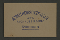 1995.89.358 front Ink stamp impression of the vocational training section of the Kovno ghetto labor insertion office  Click to enlarge