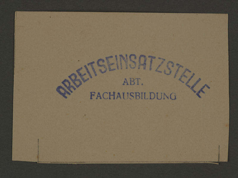 1995.89.359 front Ink stamp impression of the vocational training section of the labor insertion office in the Kovno ghetto