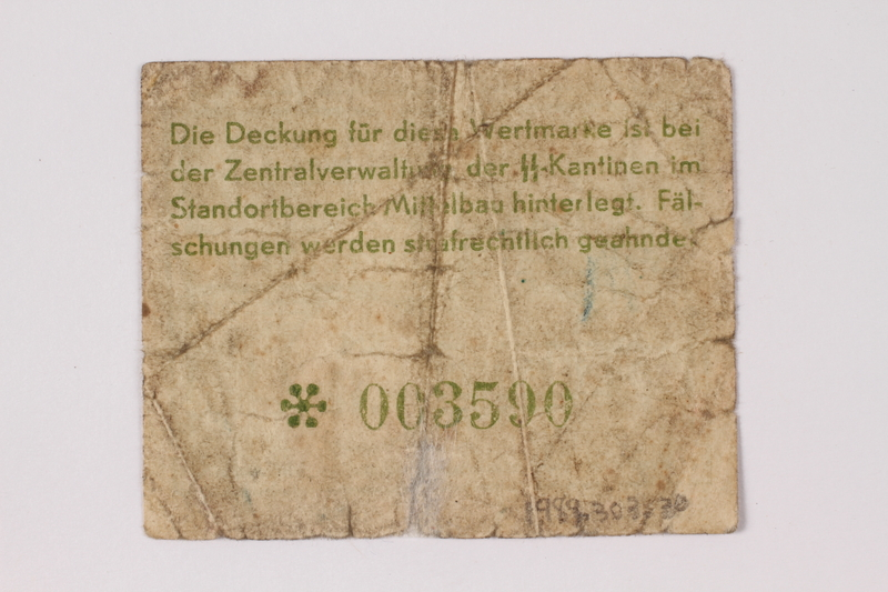 1989.303.30 back Mittelbau forced labor camp scrip, .10 Reichsmark, issued to a Czech Jewish prisoner