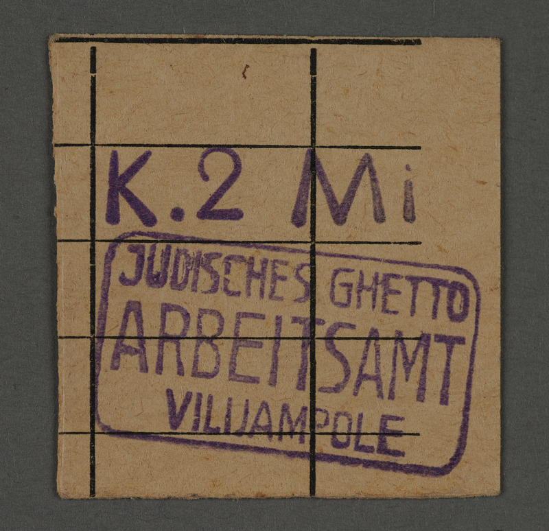 1995.89.367 front Receipt issued by the Kovno ghetto Labor Department