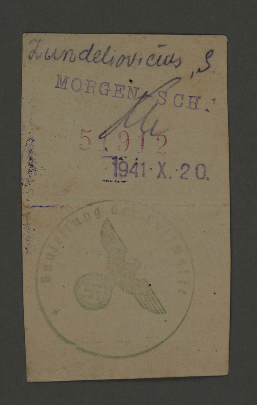 1995.89.370 front Labor pass issued in the Kovno ghetto