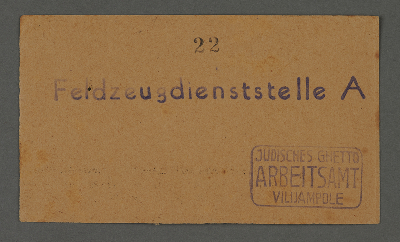 """1995.89.371 front Work assignment slip for labor at """"Ordnance/Supply Depot A"""" near the Kovno ghetto"""