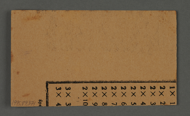 """1995.89.371 back Work assignment slip for labor at """"Ordnance/Supply Depot A"""" near the Kovno ghetto"""